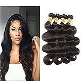 Shimei Hair Body Wave Human Hair 4 Bundles 20 inches Brazilian Virgin Body Wave Human Hair Bundles Weave Hair Human Bundles Curly Bundles (20 20 20 20, natural color)