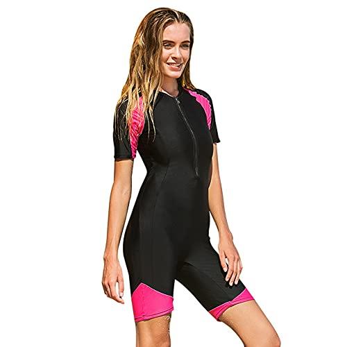 POOSR Traje de baño de Lycra para Mujer, con Cremallera Frontal, Acolchado, para Surf, Traje de Sol Shorty Rash Guards, Diveskin,Rojo,L