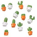 12 Piezas Cactus Imanes de Nevera, Mini Planta de imanes de Nevera, Lindo Suculenta Planta Magnético Nevera, Cactus Etiqueta de Mensaje para Decorar Frigoríficos Oficina Calendarios