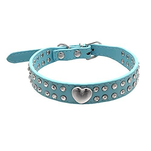 AFSDF Collar de Perro Doble Filas de Rhinestones Cuello de corazón de melocotón para Perros pequeños y medianos