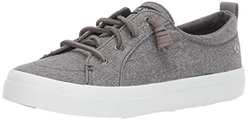 Sperry Womens Crest Vibe Sparkle Chambray Sneaker, Grey, 7