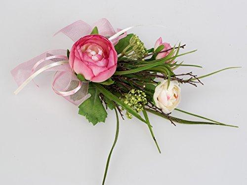 Formano schöne Tischdeko 18cm Ranunkel rosa mit Blüten, Gräsern und Deko-Bändern verziert