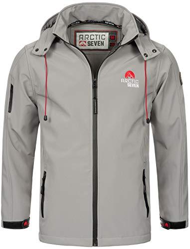 Arctic Seven Herren Designer Softshell Funktions Outdoor Regen Jacke Sport AS087 [AS-087-Hellgrau-Gr.4XL]