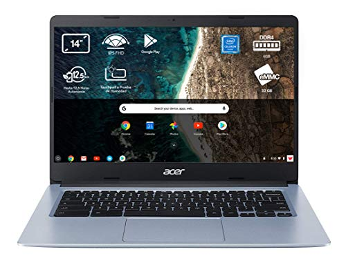 Acer Chromebook 314 - Portátil 14 FullHD (Intel Celeron N4020, 4GB RAM, 64GB eMMc, Intel UHD Graphics, Chrome OS), Color Plata - Teclado QWERTY Español