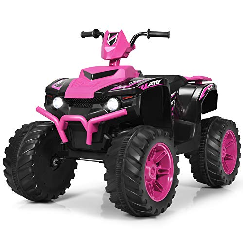 Costzon Ride on ATV, 12V Battery Powered Electric Vehicle w/ LED Lights, High &Low Speed, Horn, Bluetooth, Radio, USB, Rear Wheel Motorized Ride on 4 Wheeler Quad Car for Boys Girls (Pink)