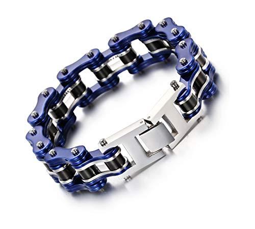KnBoB Titanstahl Herren Herren Blau Schwarz Bikerkette Armband