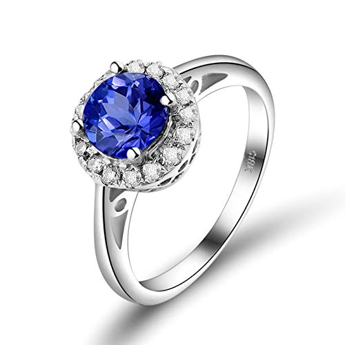 Daesar Anillo de Oro Blanco 18 Kilates Mujer,Redondo Tanzanita Azul 0.85ct Diamante 0.24ct,Plata Azul Talla 23,5