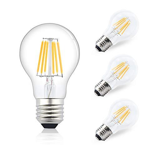 Bonlux 6W E27 Edison Ampoule LED Globe A60 AC/DC 12-24V filament ampoule vintage classic Blanc Chaud 2700K équivaut à l'ampoule halogène 75W, pour camping-car, yacht, vapeur, etc(4pcs, non-dimmable)