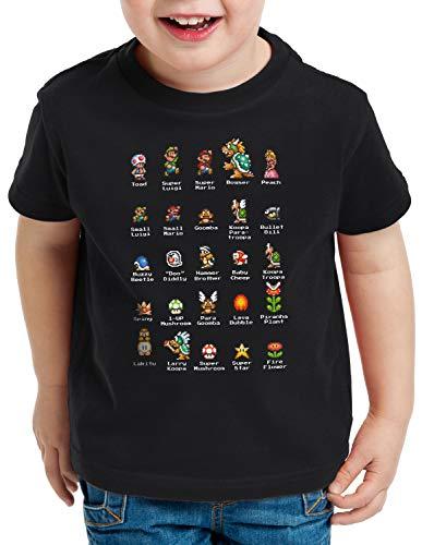 A.N.T. Mario Stars T-Shirt für Kinder Switch NES SNES Gamer, Größe:128