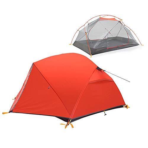 Heqianqian - Tienda de campaña para 1 o 2 personas, nailon impermeable, doble capa, toldo para camping, senderismo, para ver flores, pesca y escalada, color Rojo, tamaño 210x135x100cm