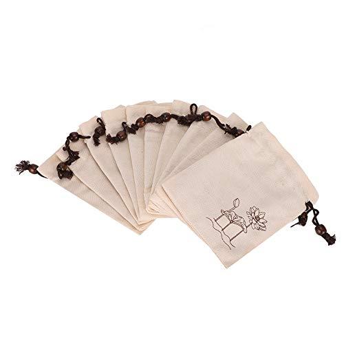 Sac en Velours épaissi, Sac à Bijoux, Sac de Rangement, Exquis et Compact, 10 Paquets Avec Deux Couleurs(couleur naturelle)