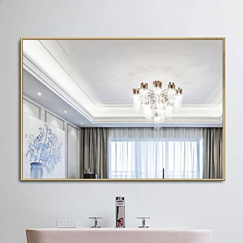 Goldrahmen-Wandspiegel, Badezimmer-Eingangsbereich Wohnzimmer Esszimmer Schlafzimmer Wanddekoration Spiegel, rechteckiger Kosmetikspiegel, horizontal oder vertikal hängend