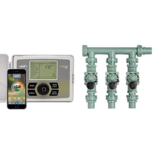 Orbit B-hyve 12-Zone Smart Indoor/Outdoor Sprinkler Controller & 57253 3-Valve Heavy Duty Preassembled Manifold