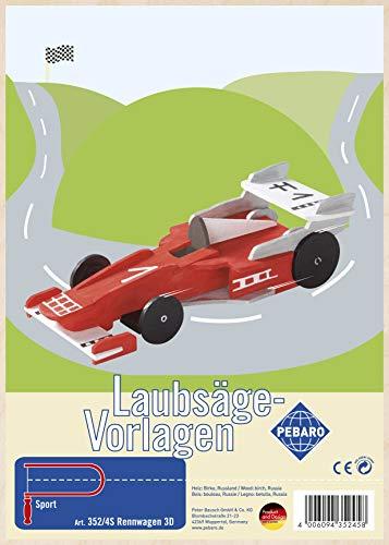 Pebaro 352/4S Laubsägevorlage aus Sperrholz Motiv Rennwagen 3D