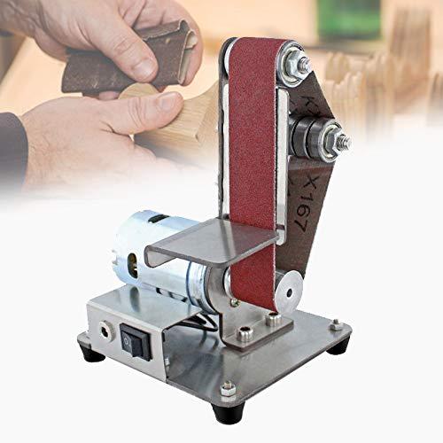 EnweMahi Máquina Pulidora Eléctrica Bricolaje,Mini Amoladora Banco,Lijadora Banda Silencio Regulación 7 Velocidades...