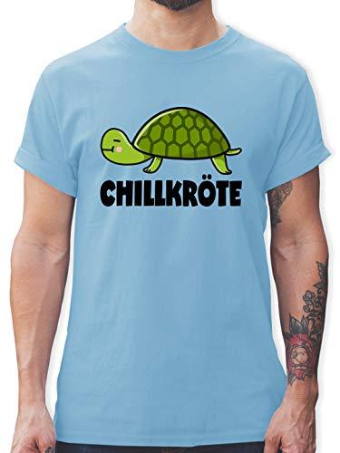 Comic Shirts - Chillkröte - S - Hellblau - Shirt mit Spruch männer - L190 - Tshirt Herren und Männer T-Shirts