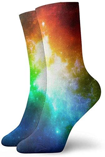 tyui7 Calcetines casuales coloridos geniales - Calcetines casuales divertidos de la novedad Galaxia colorida