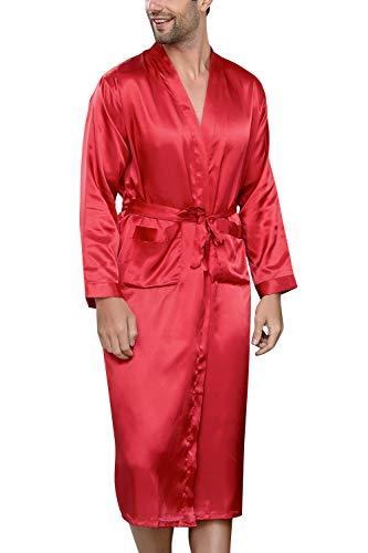 YAOMEI Albornoz para Hombre Vestido Batas y Kimonos Satén, Suave y Ligero Satén Camisón, Robe Albornoz Ropa de Dormir Pijama con Cinturón y Bolsillos (XL, Rojo)