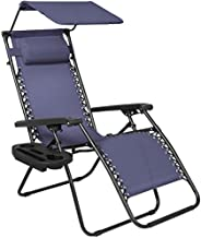 Best Choice Products Folding Steel Mesh Zero Gravity Recliner Lounge Chair w/Adjustable Canopy Shade and Cup Holder Accessory Tray, Navy