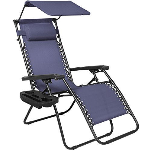 Best Choice Products Folding Zero Gravity Recliner Lounge Chair w/Canopy Shade & Magazine Cup Holder (Navy Blue)