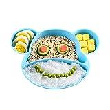 Yoofoss Plato de Silicona con Ventosa para Bebé para tronas y sillines Platos Silicona Bebes Ventosa Libre de BPA Seguro en lavavajillas microondas (Azul)