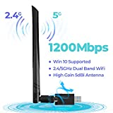Wireless USB 3.0 WiFi Adapter 1200Mbps, WiFi Dongle Dual Band 2.4GHz/5GHz with 5dBi Antenna for Desktop Laptop...