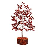 FASHIONZAADI Red Jasper Gemstone Money Crystal Tree Feng Shui Bonsai Trees for Good Luck Chakra Stone Healing Crystals Home Office Living Room Décor Spiritual Gift Size -10 Inch (Silver Wire)