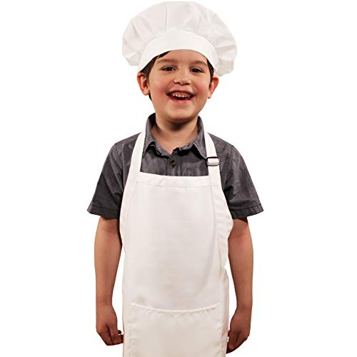 Dapper&Doll Kids Apron and Chef Hat - Gift Set for Boys Girls Ages 4-10 - White
