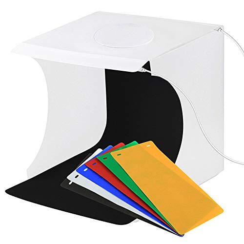 KNDJSPR Tragbare Mini-Fotostudio-Faltbox mit 40 LED-Lichtern + 6 Hintergrundtüchern zum Aufnehmen Kleiner Objekte, geeignet für die Produktpräsentation
