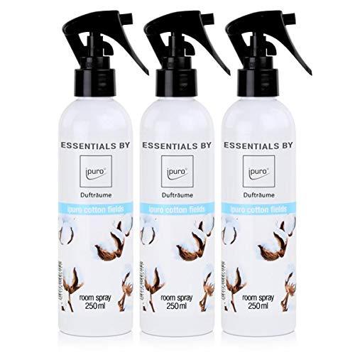 Essentials by ipuro Dufträume Raumspray cotton fields Duftspray 250ml (3er Pack)