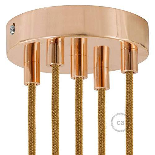 creative cables Zylindrischer 5-Loch-Lampenbaldachin Kit aus Metall - Zylindrisch, Kupfer