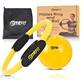 Pilates Ring and Excercise Ball Set - Magic Circle for Home Balanced Body Pilates Equipment - Improve Your Posture and Balance - Great for Physical Therapy - Free Workout eBook.
