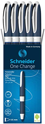 Schneider One Change Refillable Rollerball Pen.6mm Tip, Includes 2 Ink Cartridges, Blue, Box of 5 (183703)