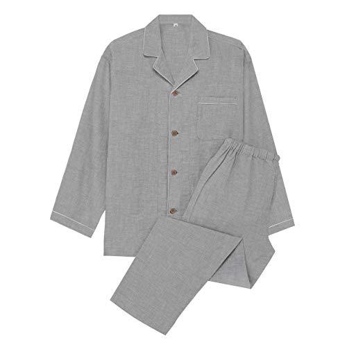 YOSO (良創 パジャマ メンズ 夏 半袖 綿100 二重 ガーゼ 寝間着 前開き 上下 セット (M, グレーx長袖)