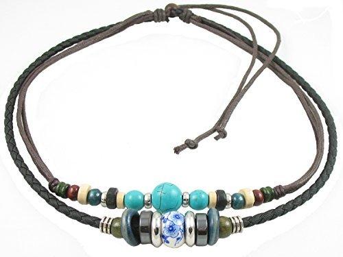 Ancient Tribe - Collana girocollo regolabile in pelle di canapa con perline turchesi, colore: Nero