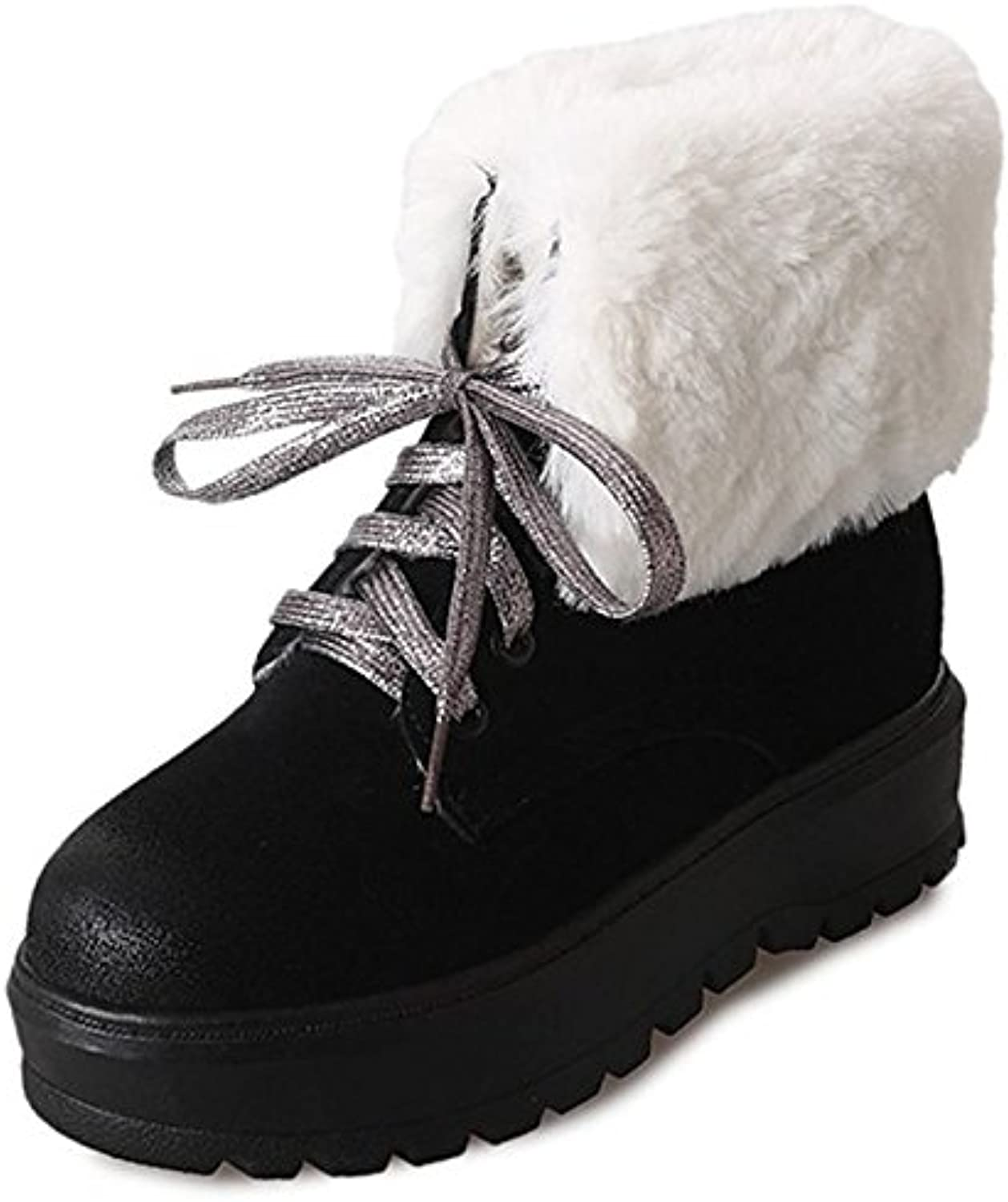 HSXZ Women's shoes PU Winter Fall Comfort Fashion Boots Combat Boots Boots Creepers Round Toe MidCalf Boots for Casual Brown Black