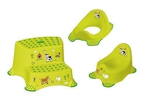 3er Set Z Funny Farm grün WC Aufsatz + Kindertopf + Hocker zweistufig Toilettentrainer