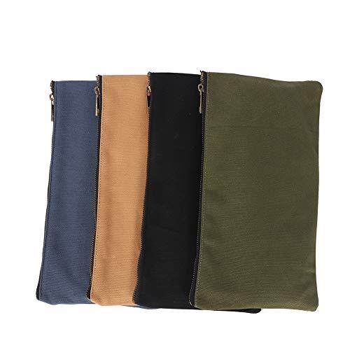 QEES 4PCS Small Canvas Zipper Bag 12.5