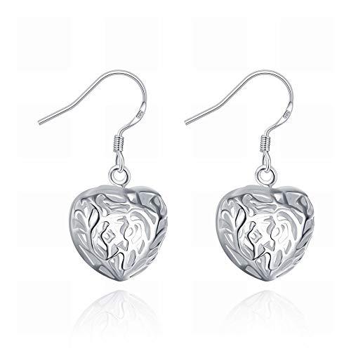 TIANYOU un Par de Pendientes de Corazón Estéreo Pendientes Simples de Plata en Forma de Corazón para Mujer/Acero Inoxidable/Hipoalergénico/Brillo Plateado/Peque?o Y Exquisit