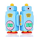 Retevis RT36 Kids Walkie Talkies Rechargeable PMR446 8 Channels VOX Flashlight 7 Colors of LCD Display Children Walkie Talkies with Rechargeable Batteries and USB Charging Cable(1 Pair,Blue)