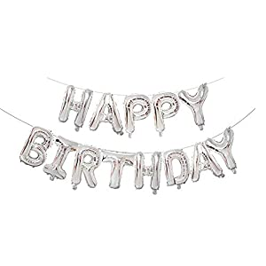 KALOR 16 inch Happy Birthday Balloons,Silver Banner Aluminum Foil Letters Balloons for Party Supplies and Birthday Decorations