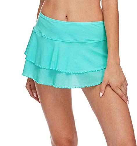 Body Glove Women's Smoothies Lambada Solid Mesh Cover Up Skirt Swimsuit, Sea Mist, Small