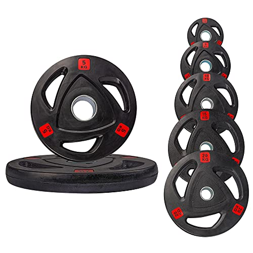 Strongway Olympic Weight Plates Discs for Barbell Bar - 2 Inch (2') / 50mm Hole - Rubber Coated Cast Iron Weights – Tri Grip - Range of Weights and Sizes (70KG SET (2 X 20KG + 2 X 10KG + 2 X 5KG))