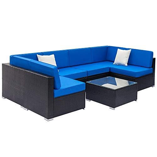 JYXJJKK Muebles de jardín Mesa de centro de cristal y cojines lavables, un conjunto completo de sofás tejidos de ratán, incluye 2 sofás de nivel medio, 4 sofás individuales y 1 mesa de centro