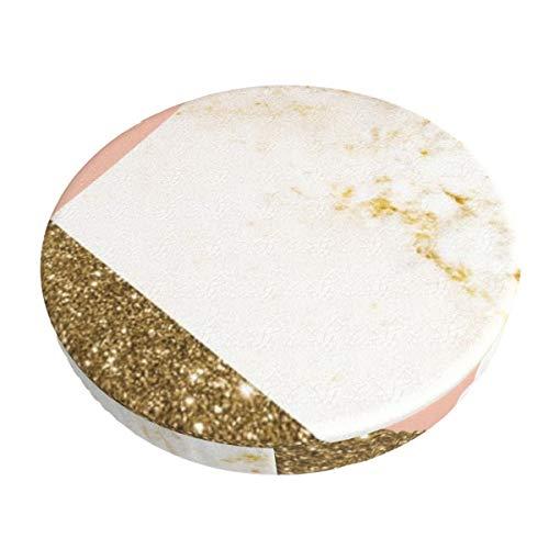 Fundas de taburetes redondas antideslizantes para sillones, doradas, de mármol, súper transpirables, elásticas, para sillones, para sillas de 33 cm.