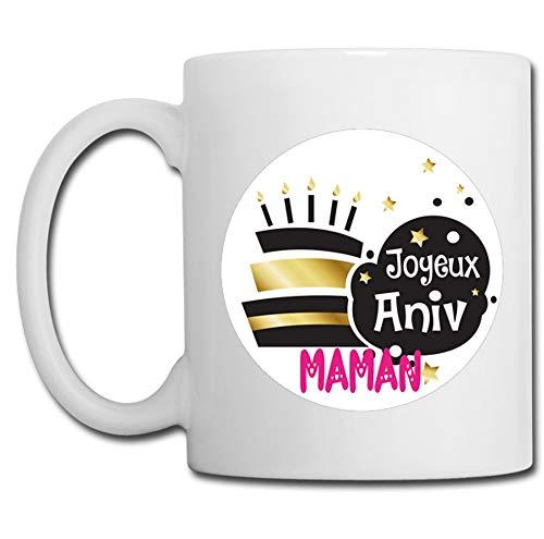 Linyatingoshop - Tazza con scritta 'Joyeux Anniv Maman', idea regalo originale