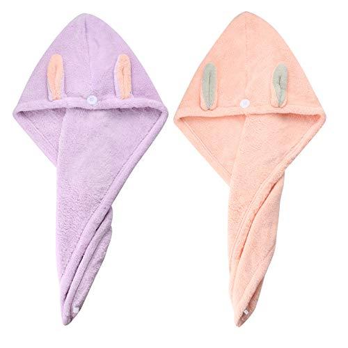Asciugamano per Capelli, Asciugamani per Turbante per Capelli, Asciugamani per Asciugare Capelli in Microfibra per Bambini, Donne, Capelli Bagnati, Lunghi Spessi (Confezione da 2, Rosa/Viola)