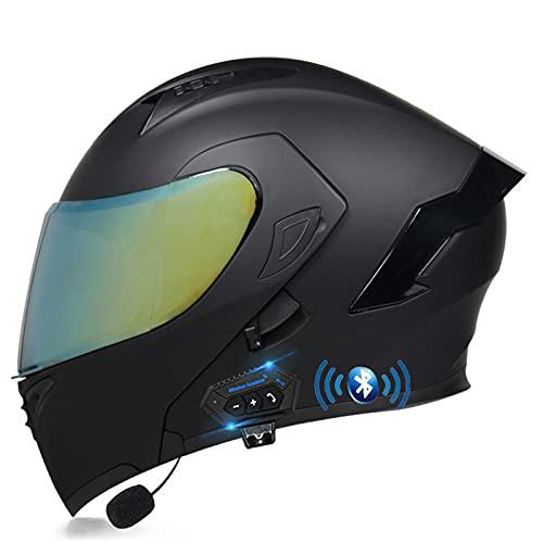 ZHANGYUEFEIFZ Bluetooth Casco de Moto Modular ECE Homologado, Cascos Motocicleta Scooter Integrado con HD Anti Niebla Doble Visera para Mujer Hombre (Color : D, Size : (L/59-60CM))