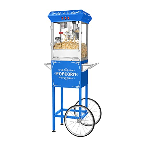 Great Northern Popcorn Blue 8 oz. Ounce Foundation Vintage Style Popcorn Machine and Cart
