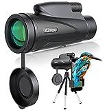 AZMKOO Telescopio Monocular 12x50 HD BAK4 Monocular con Adaptador y Trípode para observar aves, caza, camping, senderismo